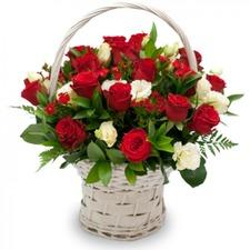 붉은장미 혼합꽃바구니